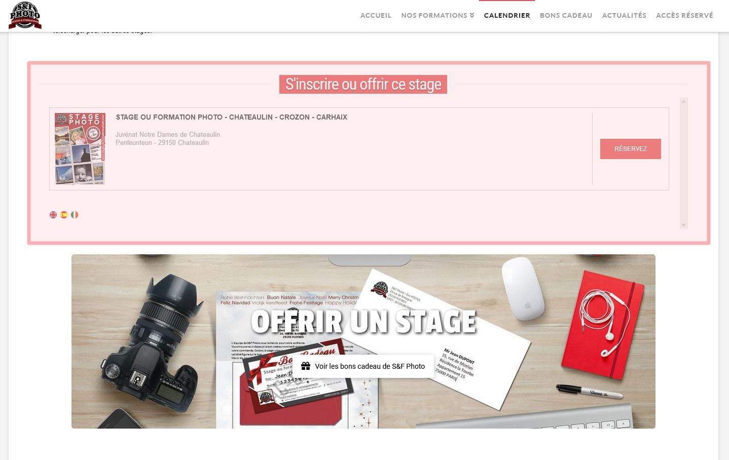 Stage photo en Finistère - Réserver ou s'inscrire pour une session - Utiliser un bon cadeau